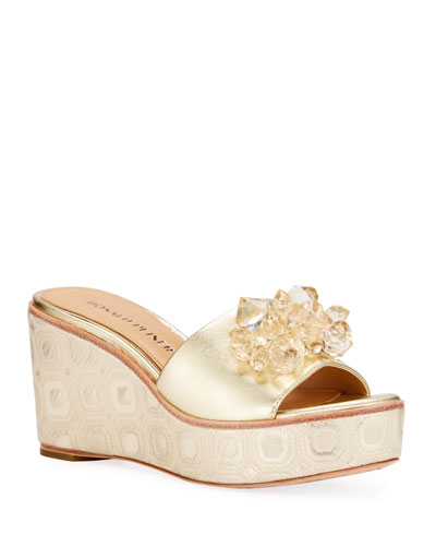 Idina Metallic Embellished Wedge Sandals  Gold