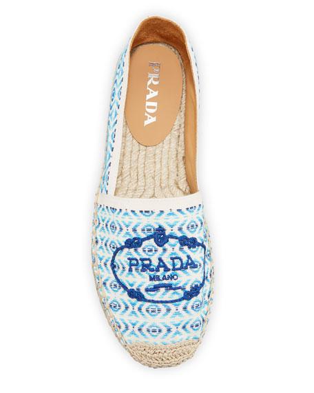 Prada Pattern Weave Flat Espadrilles