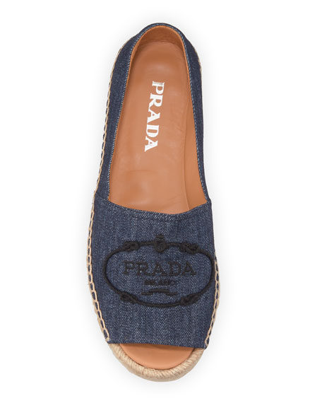 Prada Denim Logo Espadrille Loafers