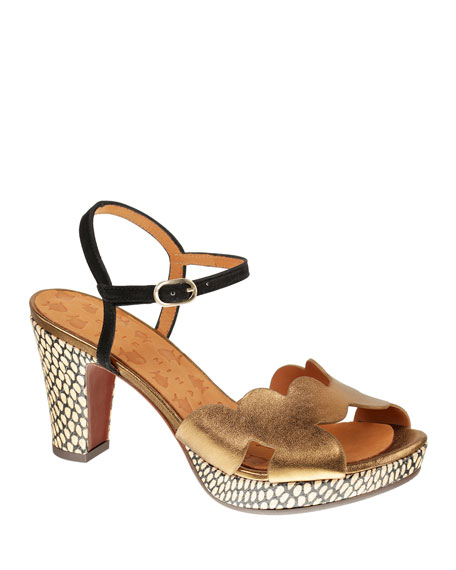 Chie Mihara Elis Metallic Leather Sandals
