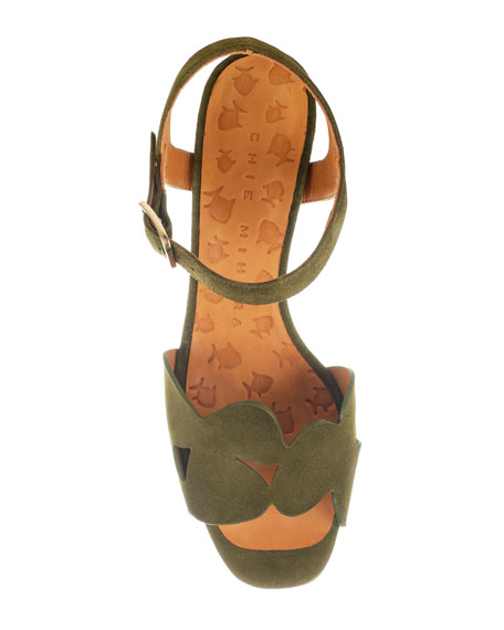Chie Mihara Loran Suede Ankle Sandals