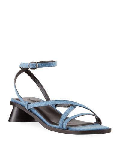 Yumi 30mm Oval-Heel Denim Sandals