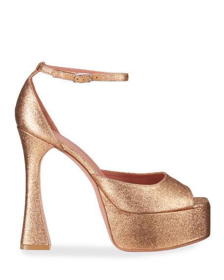 Amina Muaddi Bianca Platform Glitter Ankle-Wrap Sandals