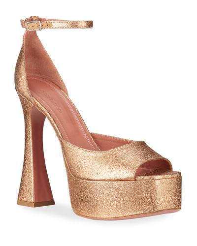 Bianca Platform Glitter Ankle-Wrap Sandals