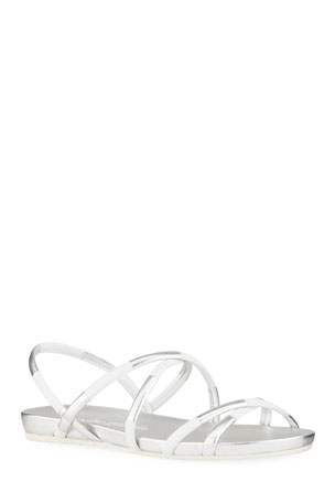 Pedro Garcia Gracia Two-Tone Metallic Strappy Sandals