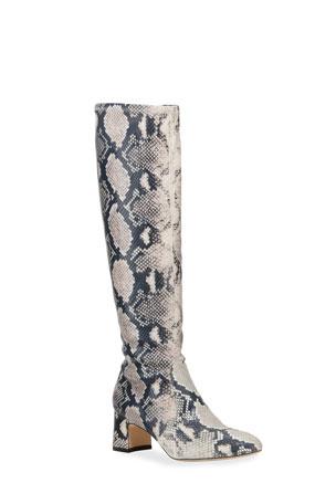 Stuart Weitzman Milla Snake-Print Leather Knee Boots