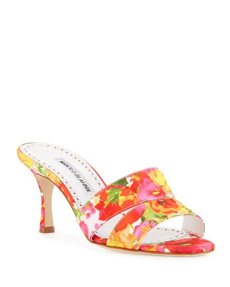 Manolo Blahnik Iacopo Flower-Print Slide Sandals