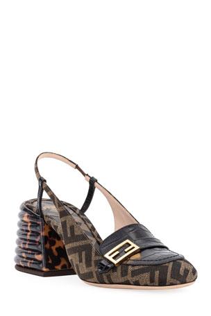 Fendi FF Slingback Loafer Pumps
