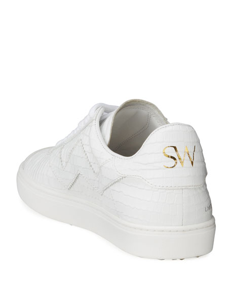 Stuart Weitzman Daryl Croc Printed Leather Low-Top Sneakers
