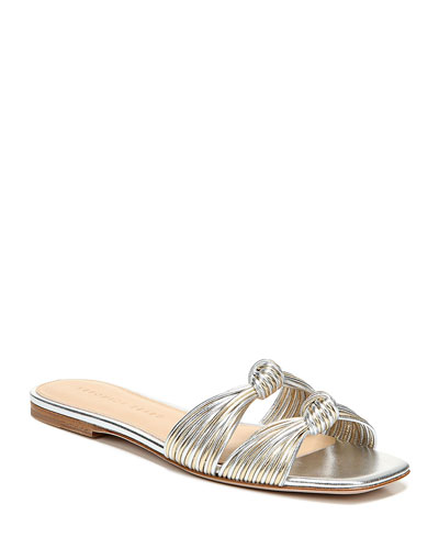 Gemma Metallic Knotted Flat Slide Sandals