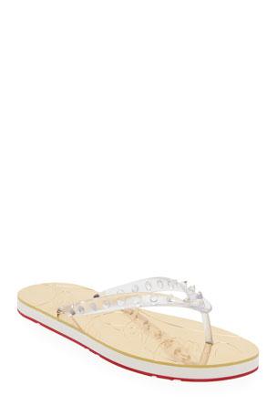 Christian Louboutin Loubi Flip Clear Stud Red Sole Slide Sandals
