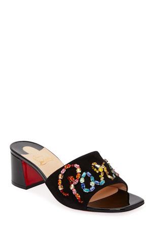 Christian Louboutin Dear Paris Patent Slide Red Sole Sandals