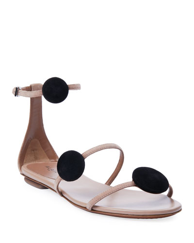 Suede Dot 3-Strap Flat Sandals