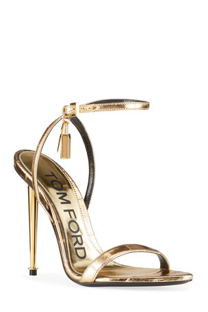 TOM FORD Metallic Eel Padlock & Key Sandals