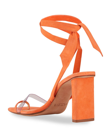 Image 5 of 5: Alexandre Birman Katie Suede Ankle-Wrap Sandals