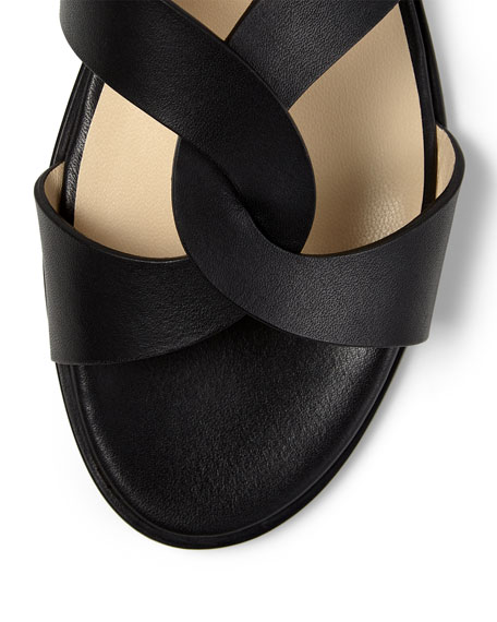 Image 4 of 4: Jimmy Choo Atia Crisscross Flat Slide Sandals