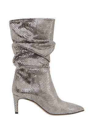 Paris Texas 60mm Slouchy Metallic Python-Print Boots
