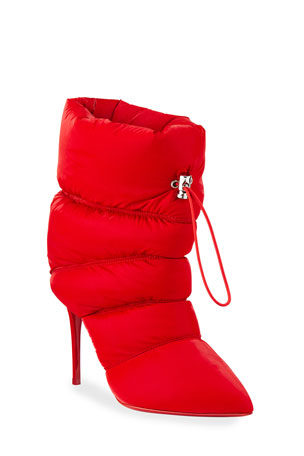 Christian Louboutin Astro Puffer Red Sole Stiletto Booties