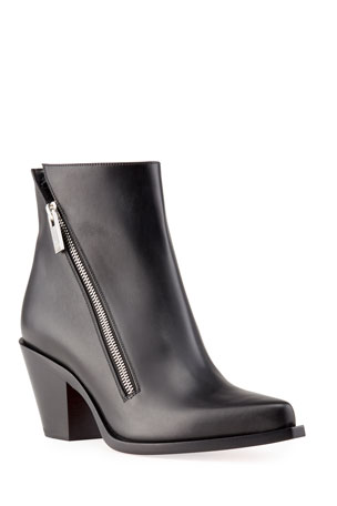 Christian Louboutin Santiazip Leather Red Sole Booties