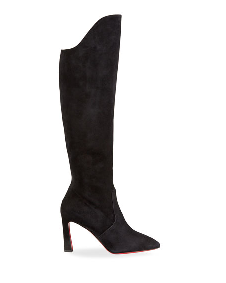 Image 2 of 4: Christian Louboutin Eleonor Tall Suede Red Sole Boots