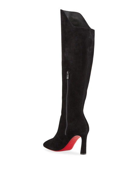 Image 4 of 4: Christian Louboutin Eleonor Tall Suede Red Sole Boots
