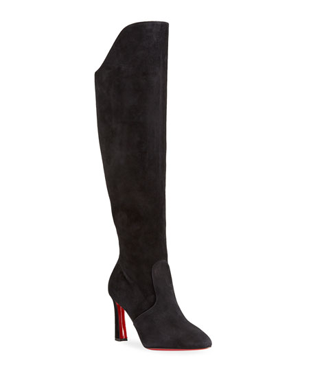 Image 1 of 4: Christian Louboutin Eleonor Tall Suede Red Sole Boots