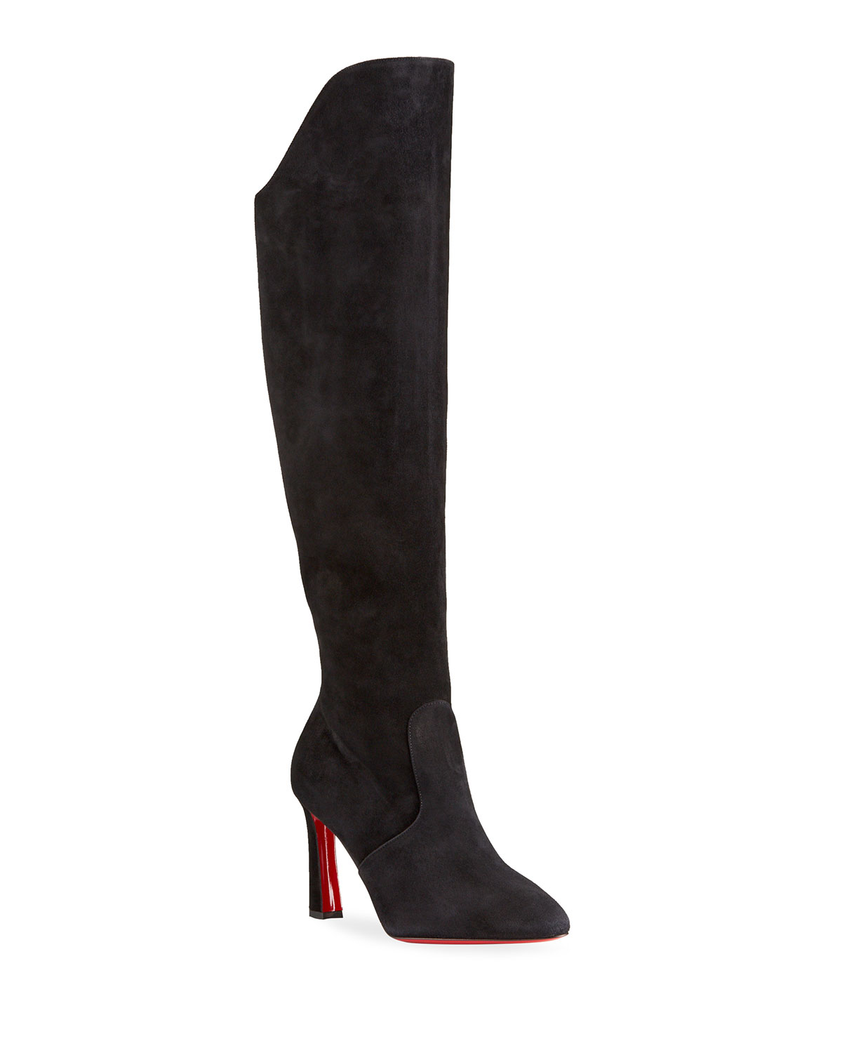 Christian Louboutin Eleonor Tall Suede Red Sole Boots