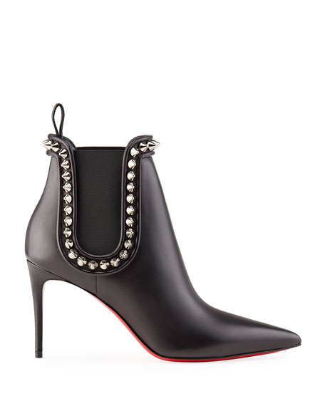 Image 2 of 4: Christian Louboutin Crapaboot Spiked Napa Stiletto Booties