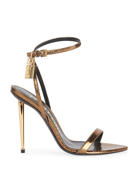 Image 2 of 4: TOM FORD 105mm Metallic Lizard-Print Lock Sandals