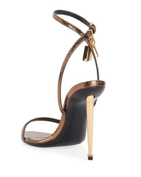 Image 3 of 4: TOM FORD 105mm Metallic Lizard-Print Lock Sandals