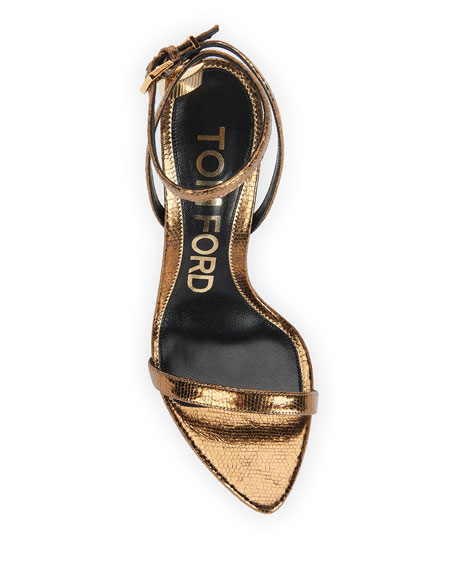 Image 4 of 4: TOM FORD 105mm Metallic Lizard-Print Lock Sandals