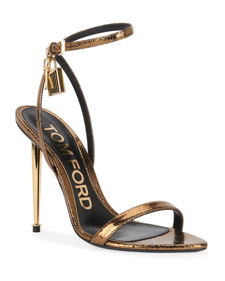 Image 1 of 4: TOM FORD 105mm Metallic Lizard-Print Lock Sandals