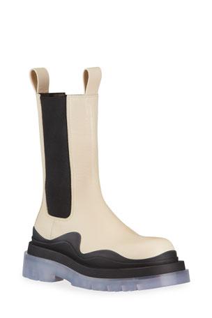 Bottega Veneta Flat Triple-Sole Leather Booties