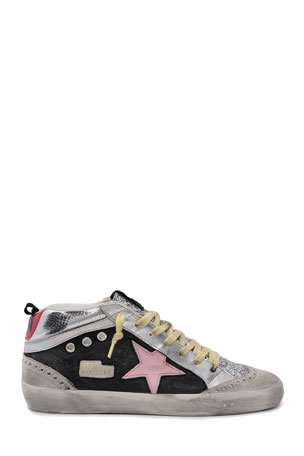 Golden Goose Mid Star Mixed Leather Sneakers