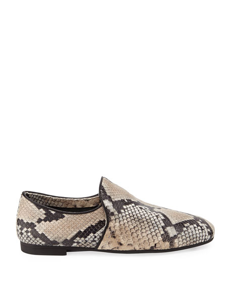 Image 2 of 3: Aquatalia Revy Flat Snake-Print Loafers