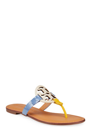 Tory Burch Miller Colorblock Logo Thong Sandals