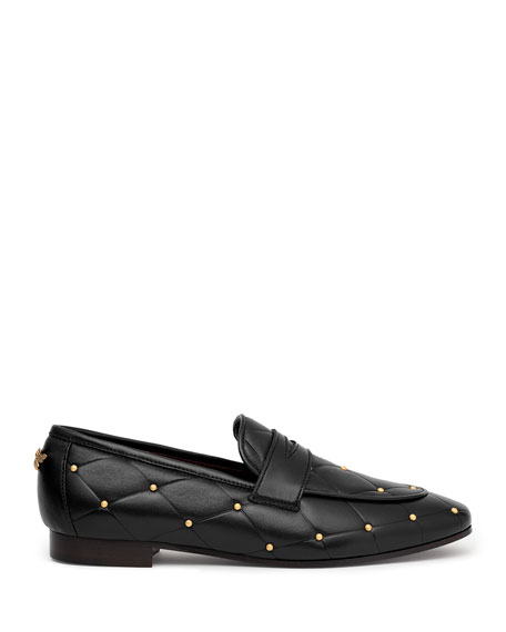 Image 2 of 4: Bougeotte Flaneur Quilted Stud Flat Penny Loafers