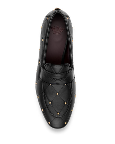 Image 4 of 4: Bougeotte Flaneur Quilted Stud Flat Penny Loafers