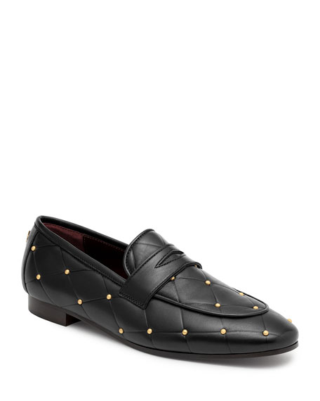 Image 1 of 4: Bougeotte Flaneur Quilted Stud Flat Penny Loafers