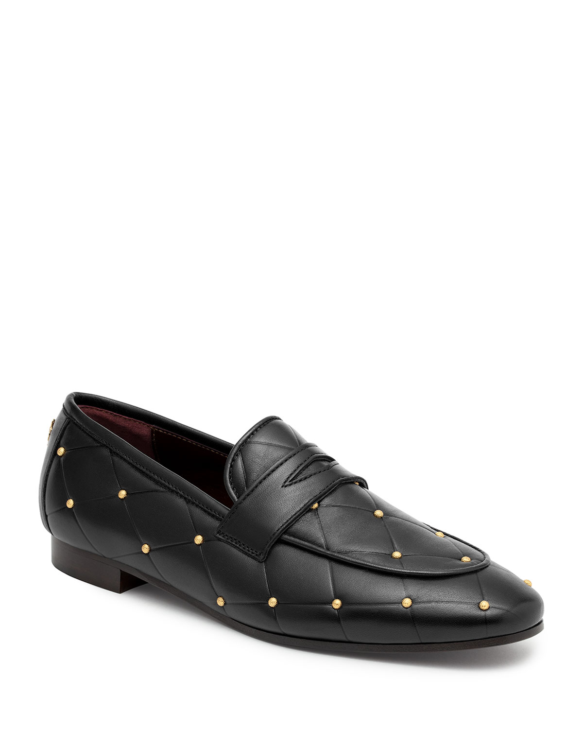 Bougeotte Flaneur Quilted Stud Flat Penny Loafers