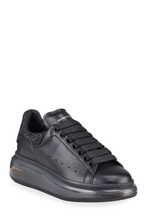 Alexander McQueen Oversized Glitter Leather Lace-Up Sneakers  $560.00