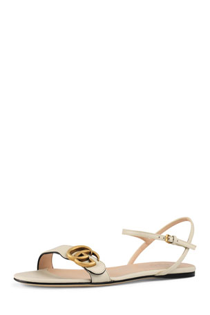 Gucci Marmont Flat Double-G Leather Sandals