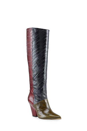 Tory Burch Lila Eel Colorblock Knee Boots