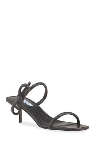 Prada 55mm Kitten-Heel Bow Slide Sandals