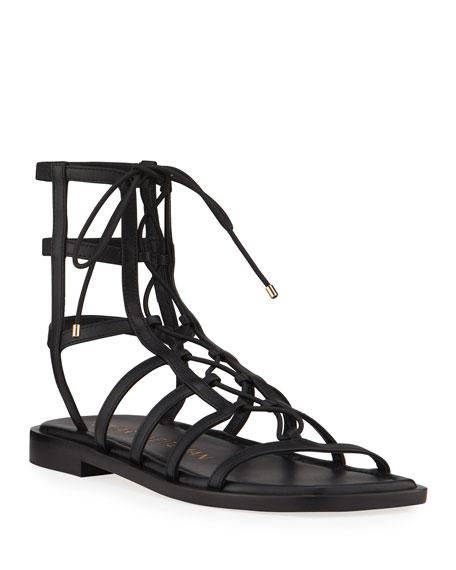 Stuart Weitzman Kora Suede Lace-Up Gladiator Sandals