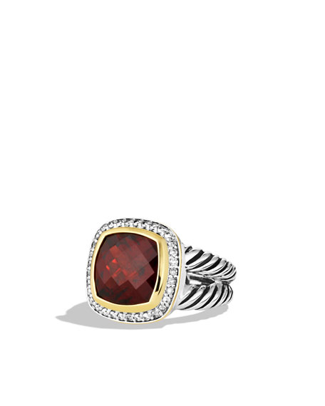 Albion Ring with Garnet, Diamonds, and Gold