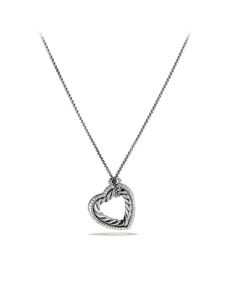 Cable Heart Large Pendant with Diamonds on Chain