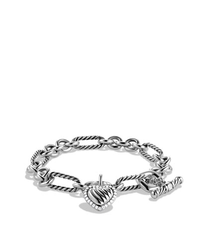 David Yurman Cable Heart Charm Bracelet with Diamonds