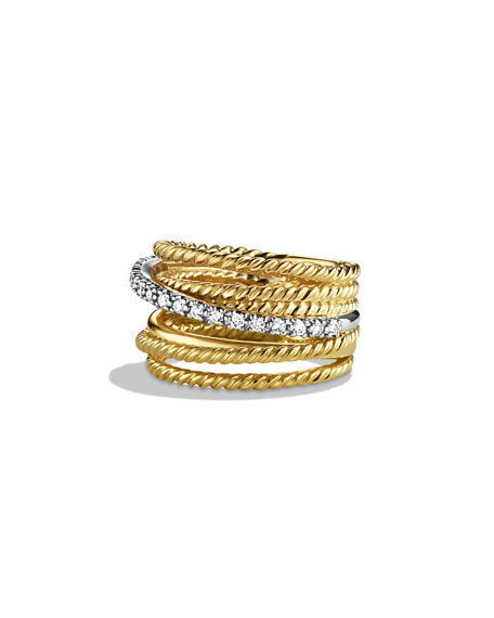 David Yurman Crossover Wide Ring with Diamonds in