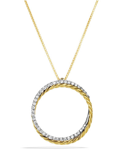 David Yurman Crossover Pendant with Diamonds in Gold on Chain